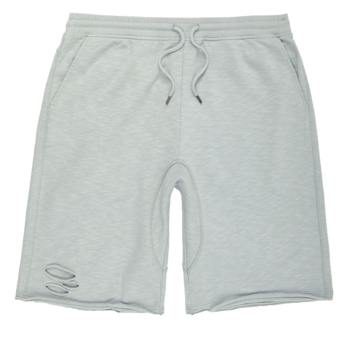 mint green slub ripped shorts - shorts - sale - men