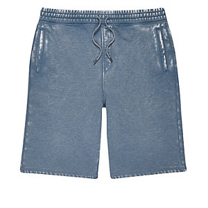 Blue burnout jogger shorts