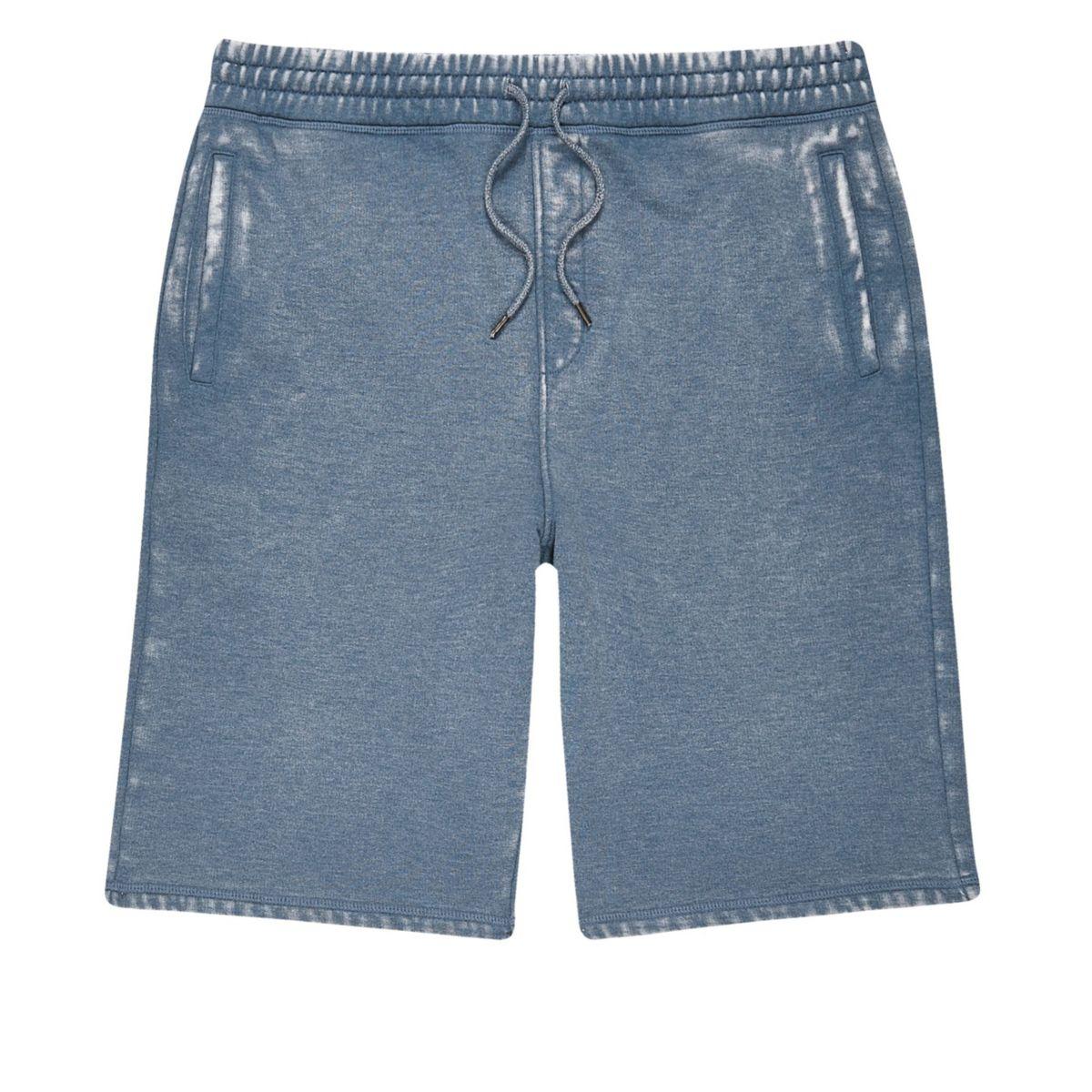Blue burnout jogger shorts
