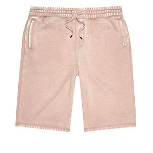 Pink burnout jogger shorts