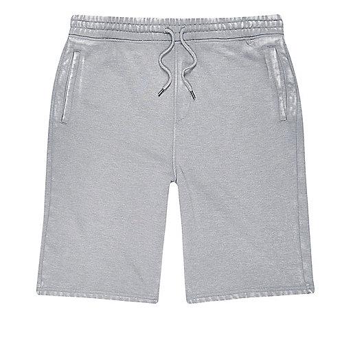 Grey burnout jogger shorts