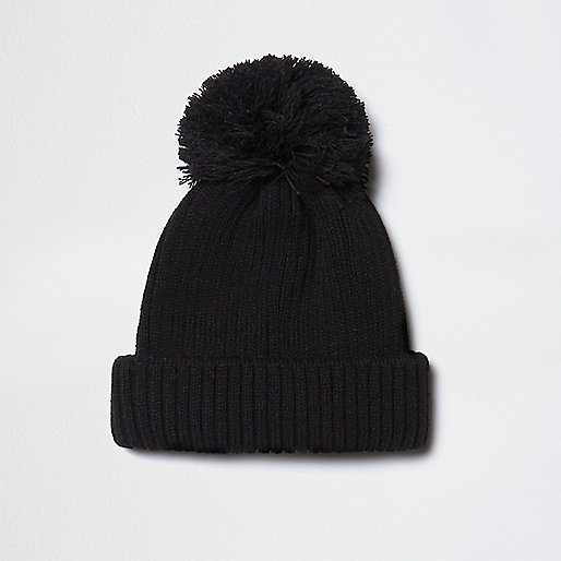 Black knit bobble hat