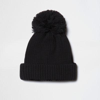 Knitting Pattern Mens Bobble Hat : Black knit bobble hat - Hats - Accessories - men