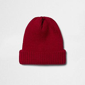 Red knit beanie hat
