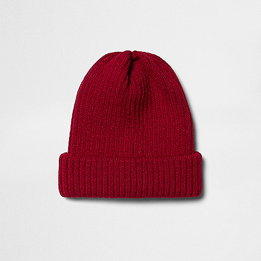 Red knit beanie hat