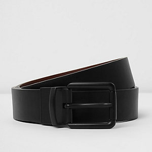 Black two tone reversible belt