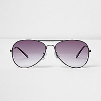 Grey smoke lens aviator sunglasses