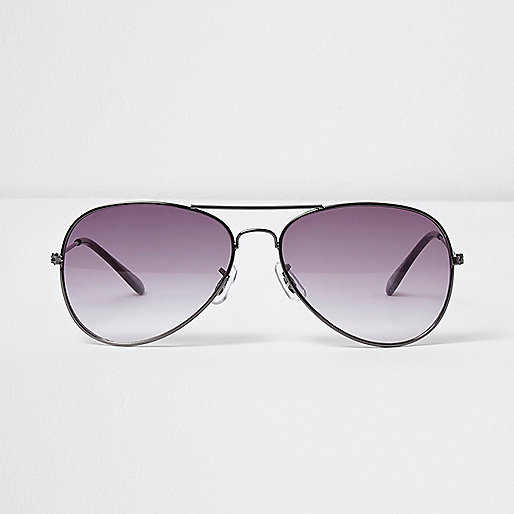 Grey smoke lens aviator sunglasses