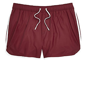 Dark red short swim shorts
