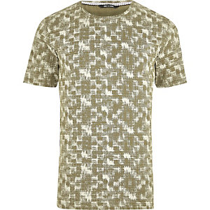 Green and white Only & Sons print T-shirt