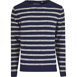 Blue Only & Sons stripe crew neck jumper