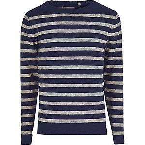 Blue Only & Sons stripe crew neck jumper