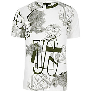 Only & Sons – Weißes T-Shirt mit Rundhalsausschnitt und Print
