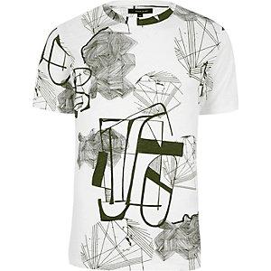 Only & Sons - Wit T-shirt met ronde hals en print