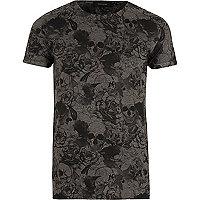 Dark grey skull print T-shirt
