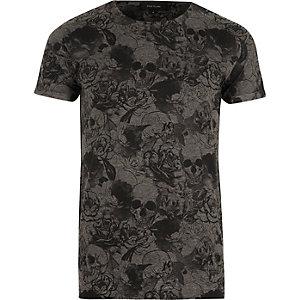 T-shirt imprimé tête de mort gris foncé