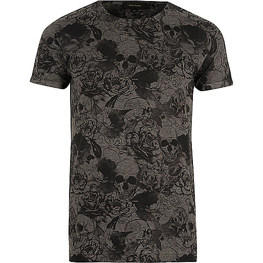 Dark grey skull print T-shirt