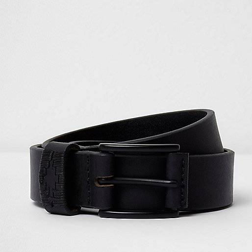 Black Aztec leather belt