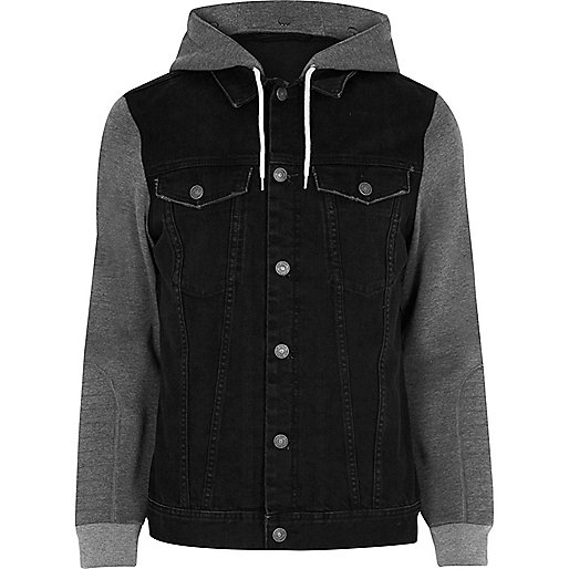 Black jersey hoodie denim jacket