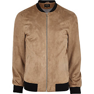 Stone suede leather bomber jacket