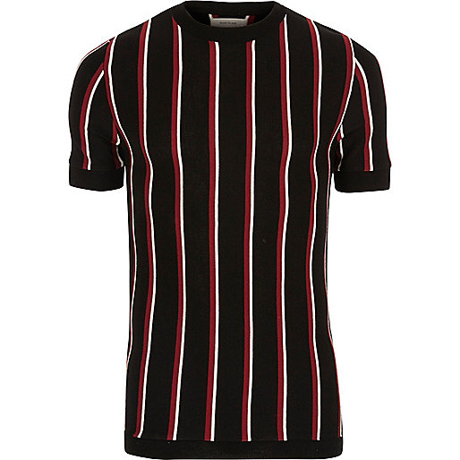 Black and red stripe slim fit T-shirt