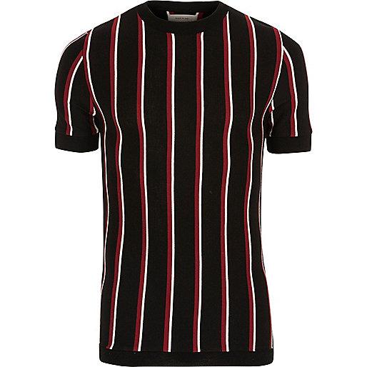 T-shirt slim rayé noir et rouge