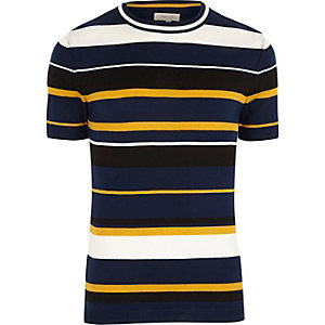 Navy yellow stripe slim fit T-shirt