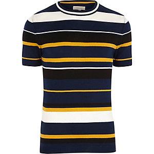 T-shirt rayé jaune et bleu marine