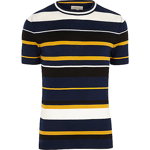 Navy yellow stripe slim fit T-shirt