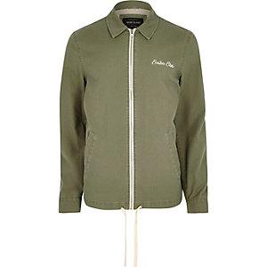 Grüne Harrington-Jacke mit Stickerei