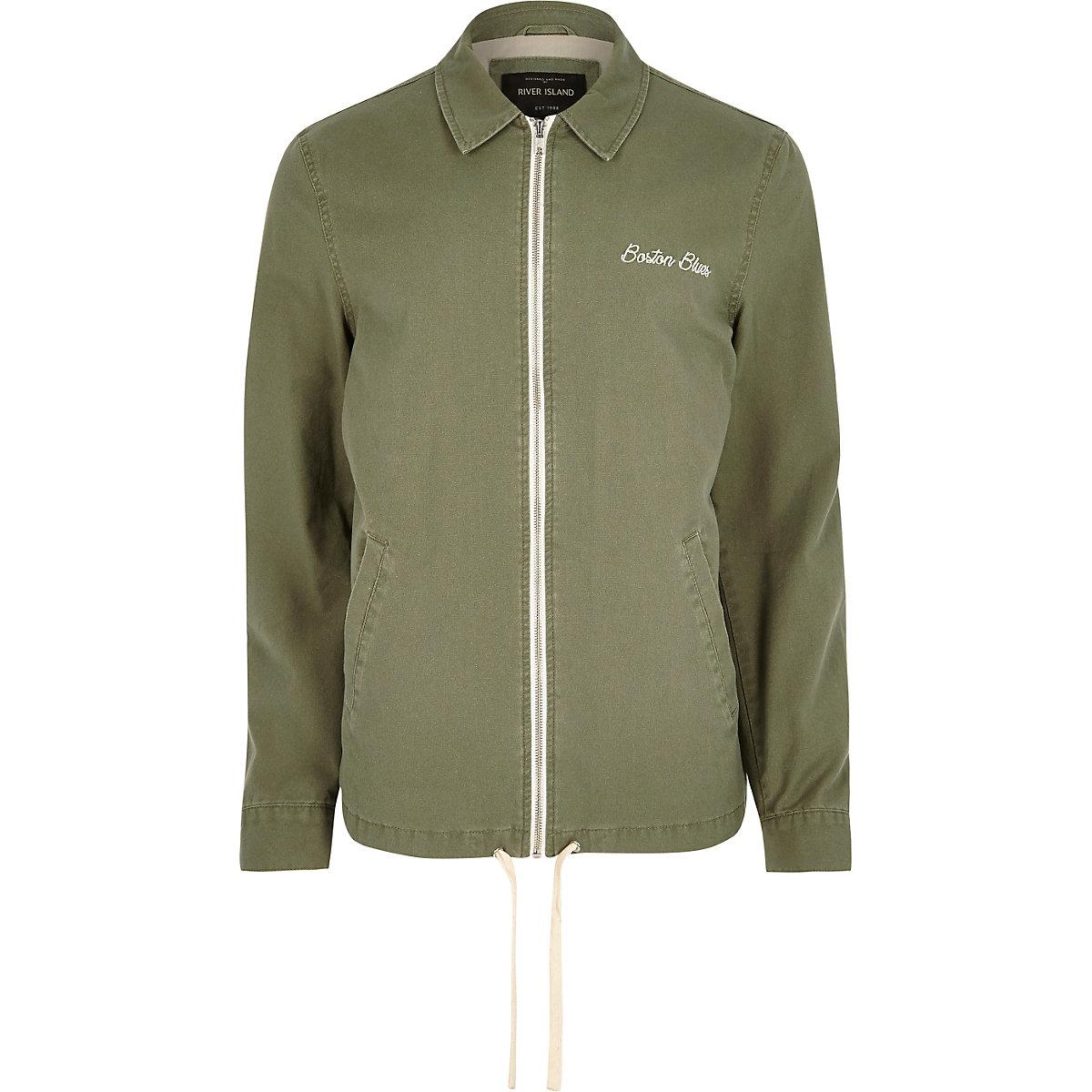 Green Boston embroidered Harrington jacket