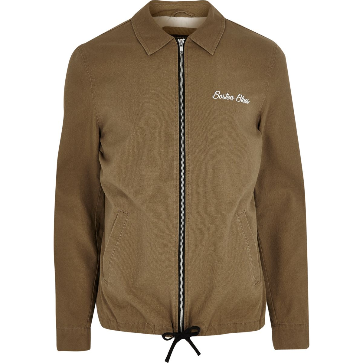 Brown 'Boston' embroidered harrington jacket