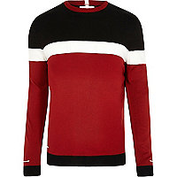 Big and Tall red colour block slim fit jumper