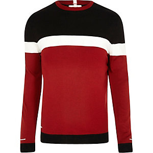 Pull Big & Tall colour block rouge coupe slim