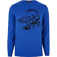 Big and Tall blue knit scorpion jumper
