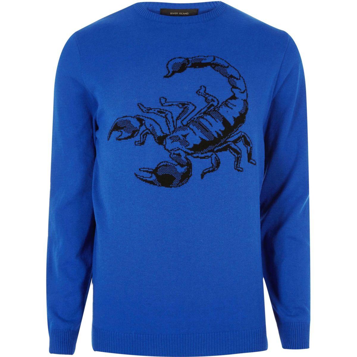 Big and Tall - Blauwe gebreide pullover met schorpioen