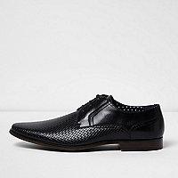 Schwarze, elegante Schuhe mit Prägung