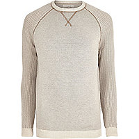 Big and Tall stone knit raglan sleeve sweater
