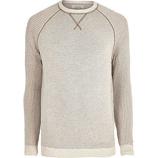 Big and Tall stone knit raglan sleeve jumper