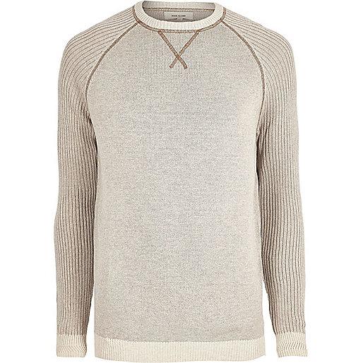 Big and Tall stone knit raglan sleeve jumper