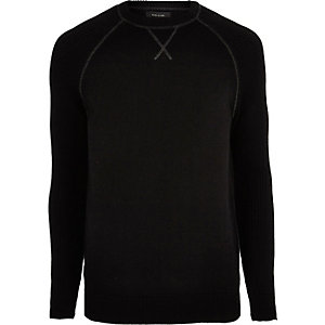Big and Tall black knit raglan sleeve sweater