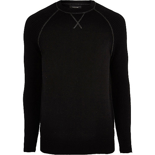 Big and Tall black knit raglan sleeve jumper