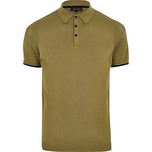 Big and Tall green mesh panel polo shirt