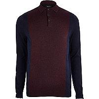 Big and Tall purple colour block polo shirt
