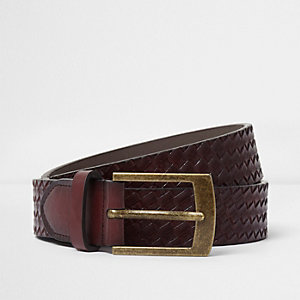 Light brown embossed weave belt