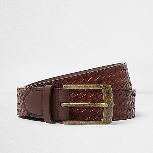 Brown embossed weave belt