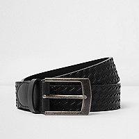 Black embossed weave belt