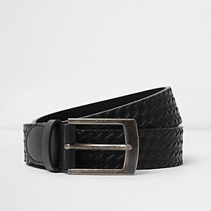 Black embossed weave belt