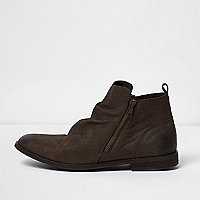 Brown leather ruched boots