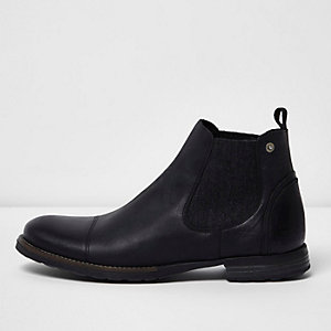 Black leather distressed Chelsea boots
